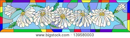 Illustration in stained glass style with flowers buds and leaves of chamomile, vector