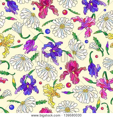Seamless pattern with spring flowers in stained glass style flowers buds and leaves of daisies and irises on a light background