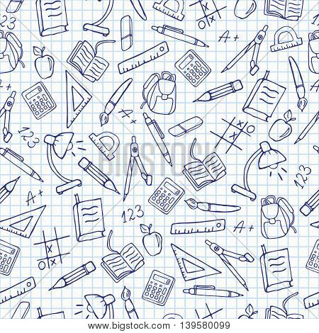Seamless pattern on the theme of the school a simple hand-drawn contour icons on the notebook sheet in a cage, vector