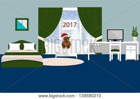 Bedroom interior vector illustration, bed, Desk, chair, computer, table, carpet, winter landscape