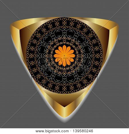 Decorative golden triangle with ethnic pattern in the middle