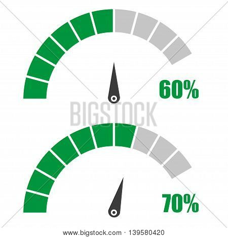 Set of speedometer or rating meter signs infographic gauge element with percent 60 70