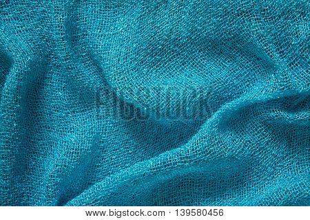 Blue crumpled Scarf cotton fabric texture background