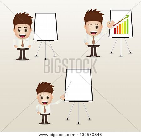 cartoon marketing presentation with board and pointer