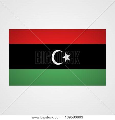 Libya flag on a gray background. Vector illustration