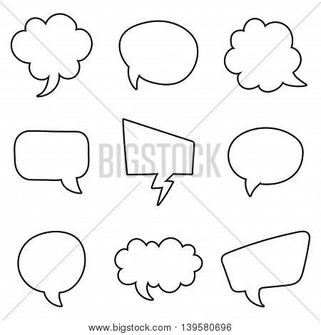 Speech bubbles set on a white background. Vector illustration