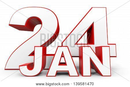 January 24. 3D Text On White Background.