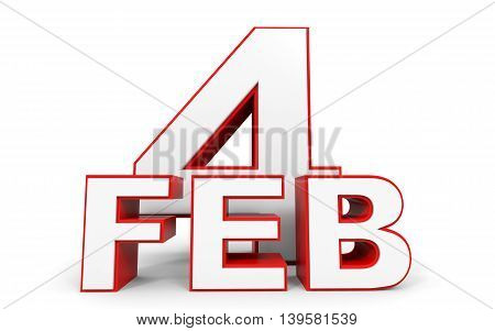 February 4. 3D Text On White Background.