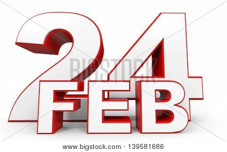 February 24. 3D Text On White Background.