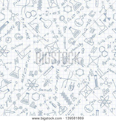 Seamless pattern with formulasgraphs and equipment as the subject of chemistry dark blue outline on notebook sheet in a cage, vector