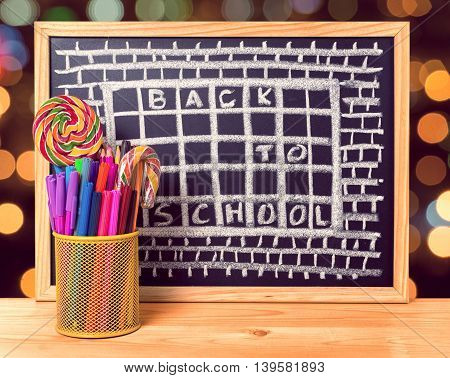 Humorous Concept Of Hate School As Prison With Text Back To School Is Written In Chalkboard, Pen Hol