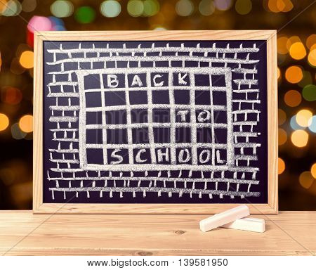 Humorous Concept Of Hate School As Prison With Text Back To School Is Written In Chalkboard, Chalks