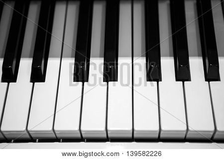 Black and white piano keys, musical keyboard instrument. Perfect equipment to extract the sounds. Classical music.