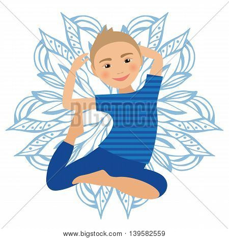 Kids Yoga Pose Vector Illustration. Child doing exercises. Posture for Kid. Healthy Children Lifestyle. Babies gymnastics. Sports Boy on White Background. Oriental Meditation Relaxation. Mandala