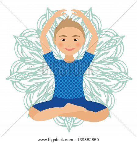 Kids Yoga Pose Vector Illustration. Child doing exercises. Posture for Kid. Healthy Children Lifestyle. Babies gymnastics. Sports Boy on White Background. Oriental Meditation Relaxation. Mandala
