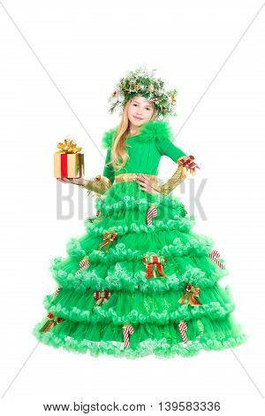 Beautiful little girl with present wearing like christmas tree. Isolated on white