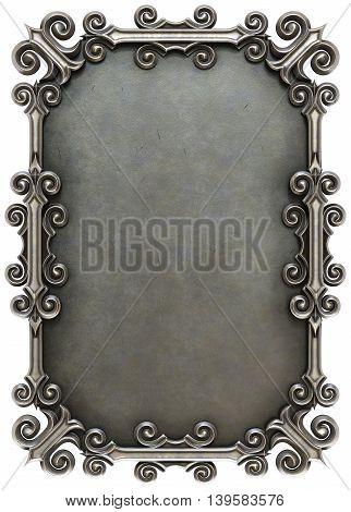 metal plate framed. isolated on white background. 3D illustration.