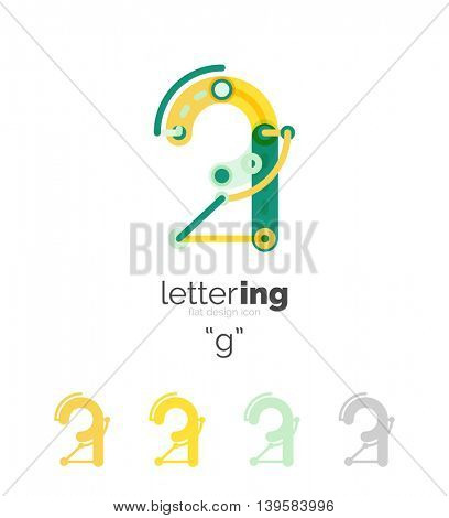 Letter logo business linear icon on white background. Alphabet initial letters company name concept. Flat thin line segments connected to each other. Flat cartoon industrial wire or tube design of ABC