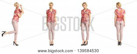 Portrait Of A Female Business Woman Posing Isolated On White