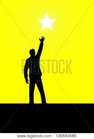 Silhouette illustration of a male figure reaching out for the star