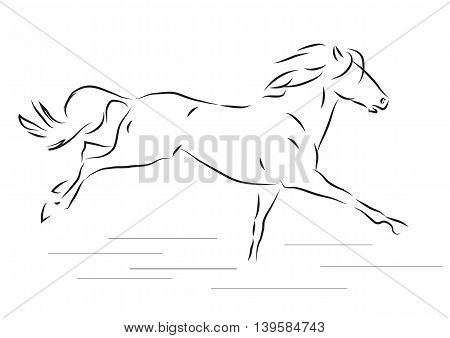 Sketch of silhouette of galloping horse - vector illustration