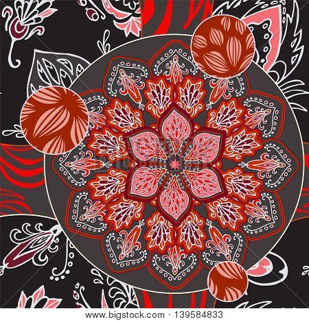 abstract seamless patcwork tile with floral ornament.arabic or orient pattern. vintage boho style