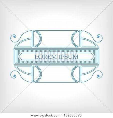 Vintage blue frame with vegetable elements for design and decoration