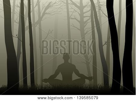 Silhouette illustration of a man figure meditating in the misty woods