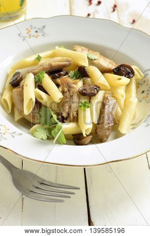 Pasta with chicken and mushrooms, vertical, selective focus