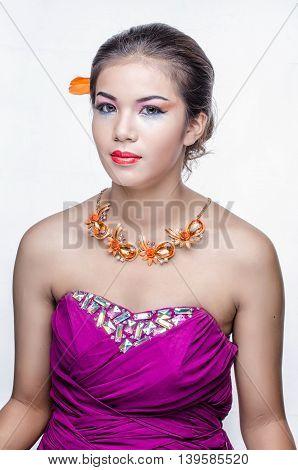 Closeup Portrait Of A Beautiful Young Woman. Fashion Art Photo..