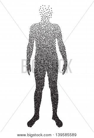 Half body , Male Anatomy, designed using square dot, graphic vector. EPS
