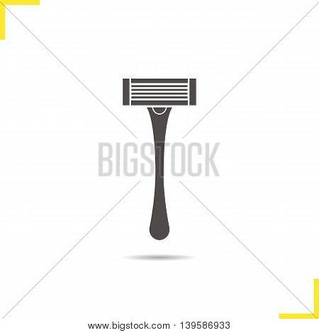 Shaver icon. Drop shadow silhouette symbol. Shaving razor. Vector isolated illustration