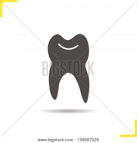 Tooth icon. Drop shadow silhouette symbol. Vector isolated illustration