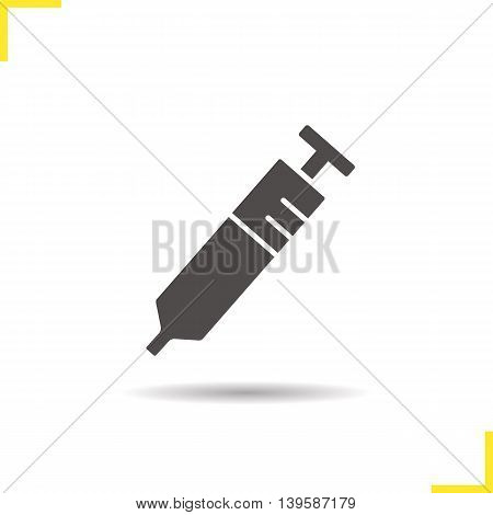 Syringe icon. Drop shadow silhouette symbol. Injection vector isolated illustration