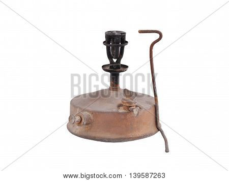 Old camping stove (primus) isolated on white background