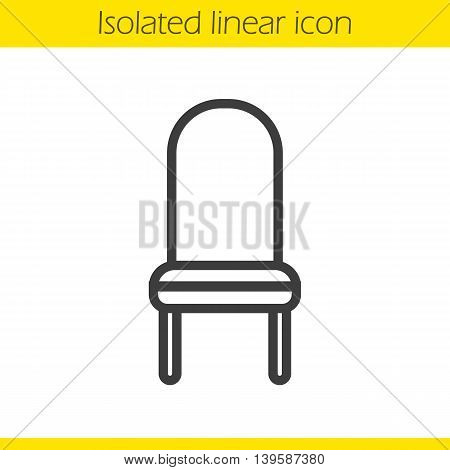 Chair linear icon. Thin line illustration. Upholstered chair contour symbol. Vector isolated outline drawing