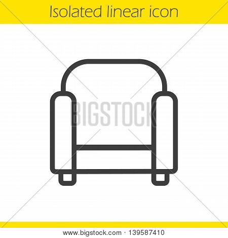 Armchair linear icon. Thin line illustration. Chair contour symbol. Vector isolated outline drawing