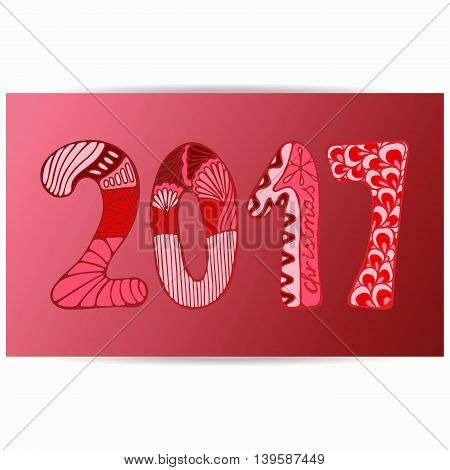 stock vector template for brochure card cover book invitation with doodle christmas pattern. new year