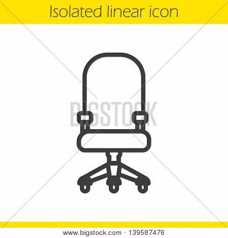 Computer chair linear icon. Comfortable office and house furniture thin line illustration. Office chair contour symbol. Vector isolated outline drawing