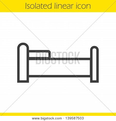 Bed linear icon. Sleeping furniture item thin line illustration. Bedtime contour symbol. Vector isolated outline drawing