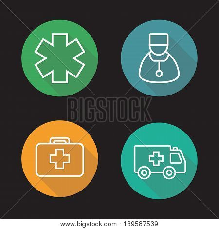 Medicine flat linear long shadow icons set. Star of life, doctor, first aid kit and ambulance. Medical vector line symbols