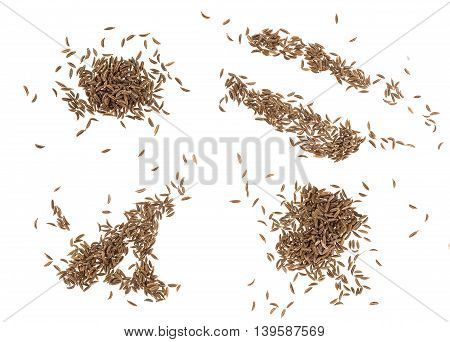 Cumin seeds or caraway isolated on white background, top view