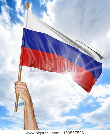 Person's hand holding the Russian national flag and waving it in the sky, 3D rendering