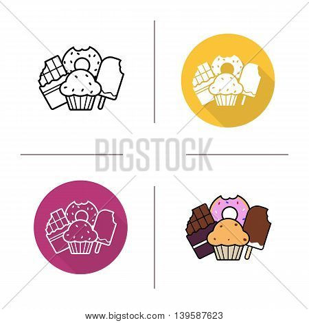 Confectionery icon. Flat design, linear and color styles. Glazed donut, bitten chocolate bar, cupcake and ice cream. Isolated vector illustrations
