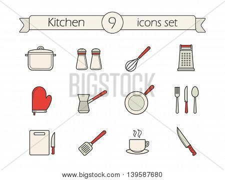Kitchen utensils color icons set. Saucepan, salt and pepper shakers and grater. Oven mitt, frying pan, fork, spoon and knife. Cutting board, spatula and chef's knife. Vector isolated illustrations