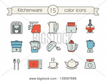 Kitchenware color icons set. Coffee machine, electric mincer and kettle. Toaster, steam cooker, water filter and mixer. Juicer, blender, spoon and fork, microwave oven. Vector isolated illustrations