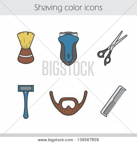Shaving color icons set. Shaving brush, electric shaver, razor, beard, scissors and comb. Barber shop accessories. Vector isolated illustrations