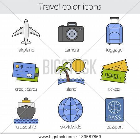 Travelling color icons set. Airplane, camera, lugagge, credit cards and island. Tickets, cruise ship, worldwide and passport symbols. Vector isolated illustrations