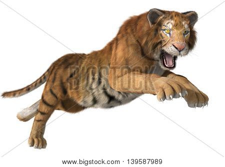 3d CG illustration of a hunting tiger isolated