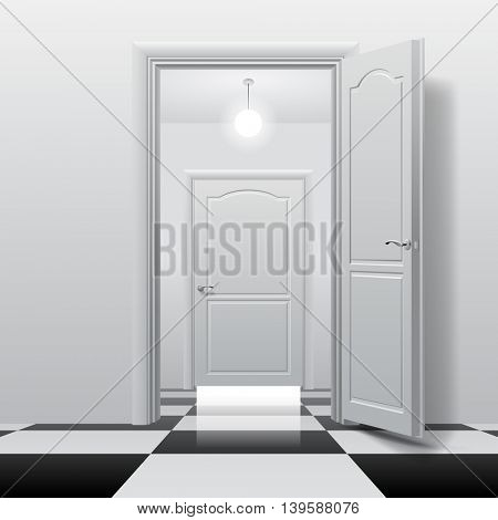 Rooms with opened and closed doors on the glossy chess floor. Interior concept design in black and white colors. 3D illustration